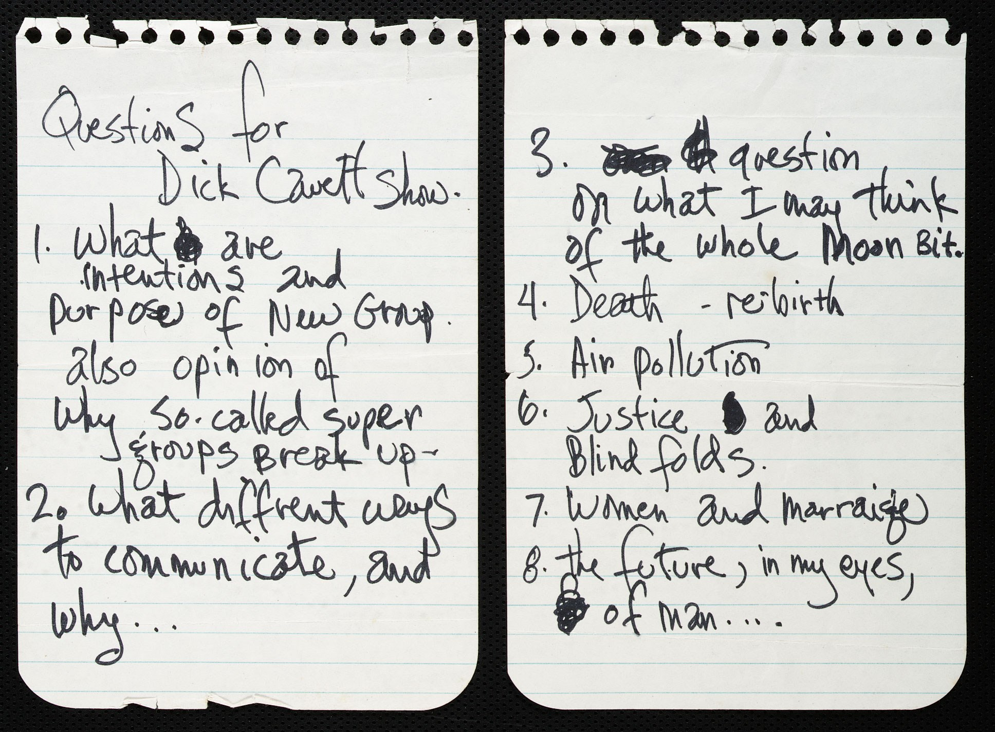 Questions for 'The Dick Cavett' Show Handwritten by Jimi Hendrix (1969)